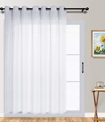 Kinryb Semi Sheer with Grommet Linen Textured Fabric White Curtain Window Treatment Voile Panels for Bedroom/Livingroom/Kitchen/Nursery,100 Wide by 84 Long - Inch, 1 Panel