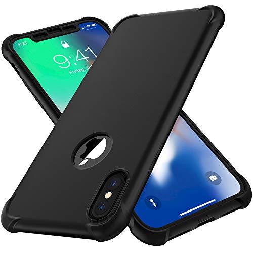 ORETECH Funda para iPhone X,Funda para iPhone XS con 2 X Protector de Pantalla de Vidrio Templado Carcasa para iPhone X XS Silicona Ligera Delgado PC TPU Bumper Rubber Caso para iPhone XS X Negro 5.8