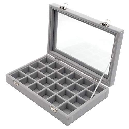 Caja organizadora de joyas de almacenamiento gris con doble hebilla de 24 compartimentos para pendientes, multifunción.