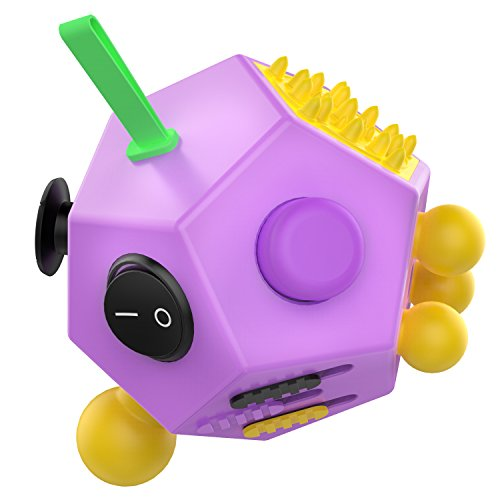 ATIC 12 Sided Fidget Cube, Fidget Twiddle Cube Dodecagon Stress Relief Hand Toy Decompression for ADD, ADHD, Autism Kids and Adults, Purple/Yellow