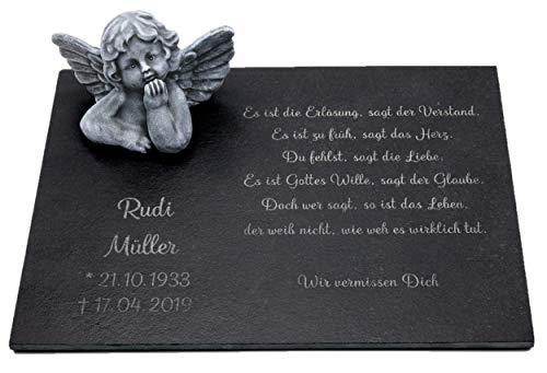 Tiefes Kunsthandwerk Gedenkstein Engel mit Wunschtext als Gravur, wunderschöne Erinnerung für Dein Zuhause oder als Gedenkstein, Grabschmuck, 30x40 cm