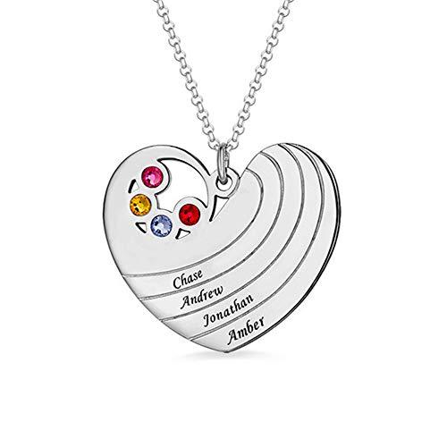 Familiennamen-Halskette, personalisiert mit Herzform mit 4 Namen und Geburtssteinen Familienmitglieder Mutter Großmutter Ehefrau Freunde