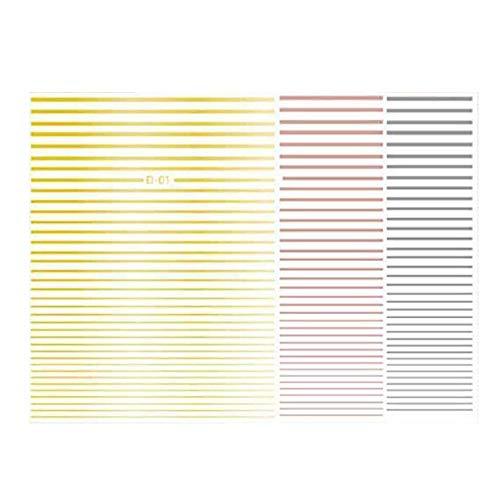 Sandis Lignes de Rayures Courbes Autocollantes 3D ou Nail Stickers AdhéSif Striping Strip Nail Art Stickers Stickers Stickers Ongles Rose ou Argent 3Pc