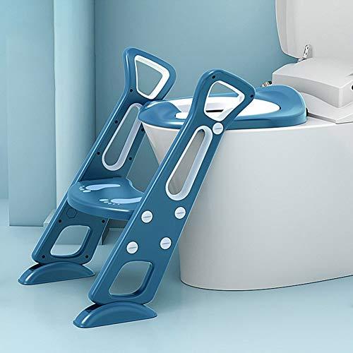 Toilettentrainer mit Treppe,Töpfchentrainer Toiletten, Trainer Kinder Töpfchen Kinder, Rutschfester stabiler Kleinkind-Toilettensitz mit Tritthockerleiter (Blau)