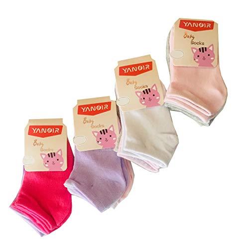 12 Paia Calze Calzini Neonato Bambina in Cotone Tinta Unita - Modello Corto FANTASMINO Prima Infanzia (6-12 Mesi)