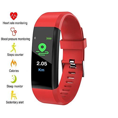 Xtreme Style Fitness Armband mit echtem Pulsmesser, Schrittzähler, Kalorienverbrauch, Schlafmonitor und Blutdruck-Messung. IP67 Fitness-Trackers sind wasserdicht für Damen, Herren und Kinder (rot)