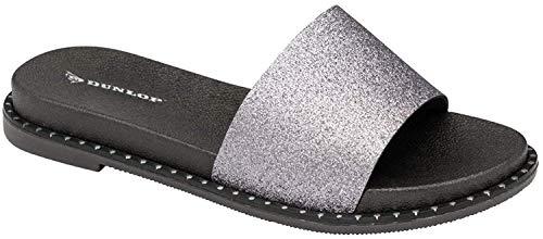 Dunlop Flip Flops Zehentrenner flach gepolstert, - Ava Silver - Größe: 38 EU