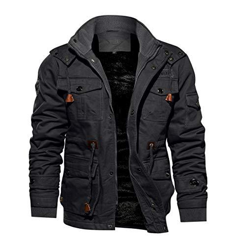 TACVASEN Men's Casual Winter Cotton Military Jacket Thicken Hooded Cargo Coat Grey, US M