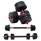 Respire Fitness 20kg Adjustable Dumbbells Barbell Set with Plates, Collars, and Bars for Personal Home Gym Fitness Workouts and Strength Training, Non-Slip Handle Grips (20 KG)