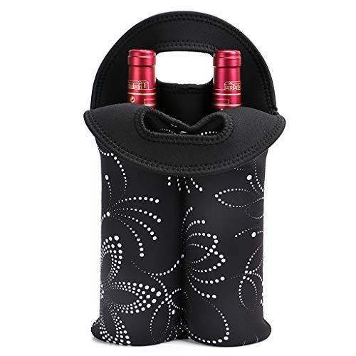 Hipiwe Wein-Reisetasche & Kühltasche für 2 Flaschen Weinflaschen Picknick-Kühler 2 Flaschen Wasser Getränke Bier Isolierte Neopren Handtasche