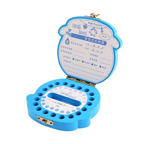 STOBOK Zahnbox Holz Milchzahnbox Organizer Aufbewahrungsboxen Andenken Geschenk für Junge Kinder (Blau)