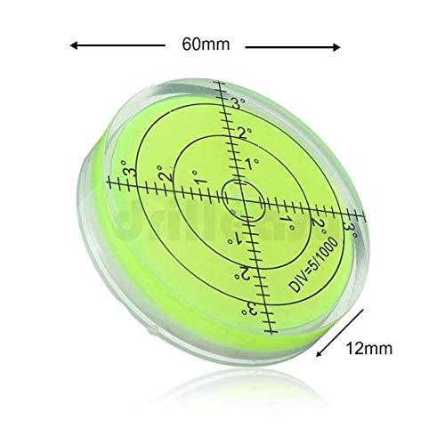 Acryl-Wasserwaage, groß, 60 mm Durchmesser, Grad – Acrylgehäuse, Oberflächenwaage, Bullseye-Phiole rund – perfekt für Stativ und mehr