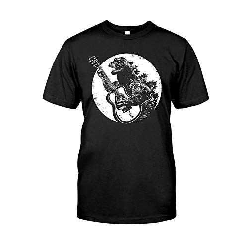 Vintage Guitar G.o.d.z.i.l.l.a Playing Guitar Cool Graphic Acoustic Electric Bass Player for Men Women Retro Rock Band T-Shirt