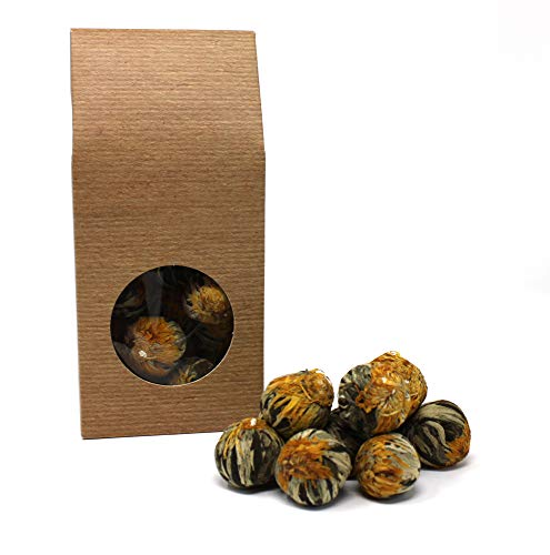 "10 x Teeblume / Teerose - ""Fortune Balls"" - Grüner Tee und Ringelblumenblüten"
