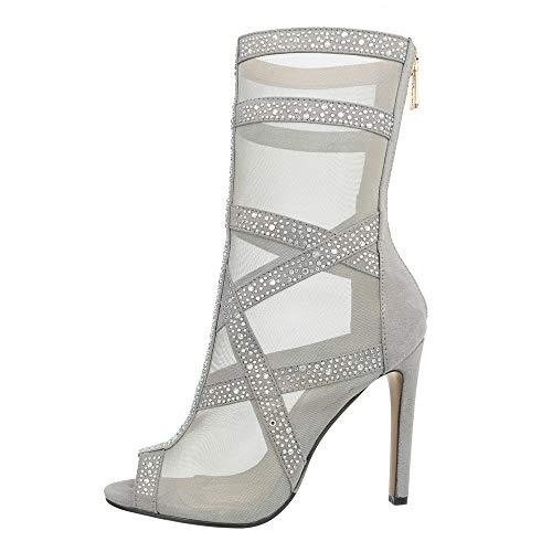 Ital-Design Damenschuhe Stiefeletten High Heel Stiefeletten Synthetik Silber Gr. 39
