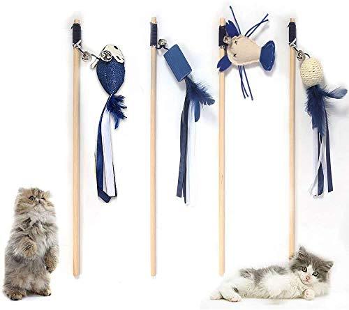 AIDIYA Cat Dangler Spielzeugtraining Teleskop interaktive einziehbare natürliche Federstab Katze Spielzeug mit 8 x Feather Refills (Dunkel blau)