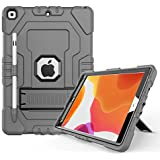 Digital Hutty Case for iPad 10.2 2019,iPad 7th Generation Case, Hybrid Three Layers Armor Shockproof Heavy Duty Protective Case with Kickstand,Pencil Holder Gray