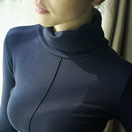 GUORUIMIN Trui Voor Vrouwen, Donkerblauwe Trui Vrouwelijke Zachte Stijl Skinny Winter Comfy Coltrui Vrouwen Basic Pullovers Lange mouwen Pull Femme Top