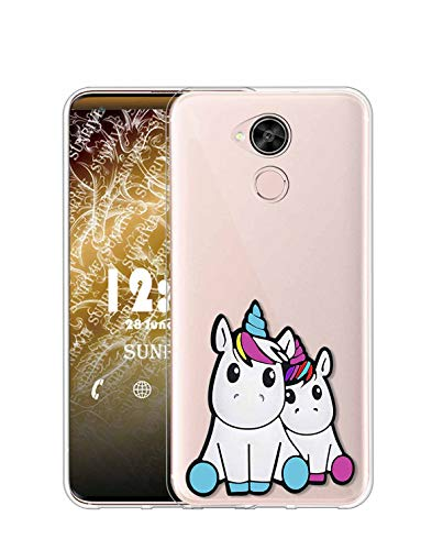 Sunrive Funda para Huawei GX8/G8, Silicona Slim Fit Gel Transparente Carcasa 3D Case Bumper de Impactos y Anti-Arañazos Espalda Cover(W1 Unicornio 2)