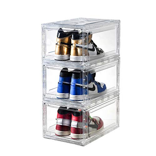 BBYB 3PCS 신발 상자 뚜껑이 있는 클리어 슈 박스 드롭 프런트 슈 박스 자기 도어 360도 전체 클리어 스니커 저장소 신발 상자