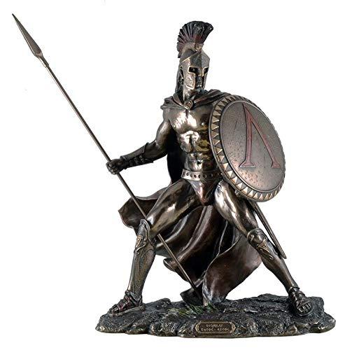 Unbekannt Leonidas mit Schild und Speer Figur Feldherr Spartaner bronziert