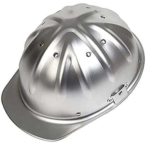 Casco De Seguridad De Aluminio Casco De ala Completa con Suspensión De Trinquete Casco De Seguridad Plateado Aluminio, 370G, Adecuado para Demolición, Tala, Construcción