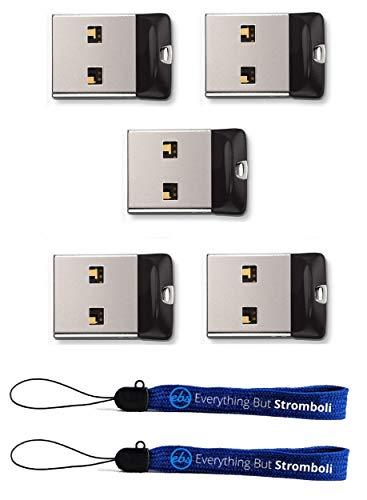 SanDisk Cruzer Fit 16 GB USB Flash Drive SDCZ33-016G-B35 (5 PACK) w  (2) Everything But Stromboli (TM) Lanyard