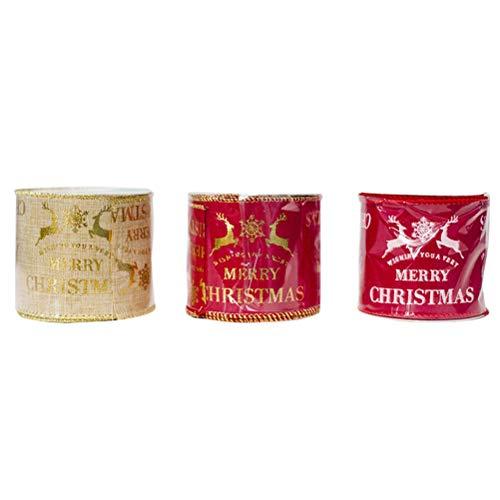 BESTOYARD 3 Pack Elk Print Stof Linten Inpakken Verpakkingen Haarbanden Bow Party Vakantie Decoraties