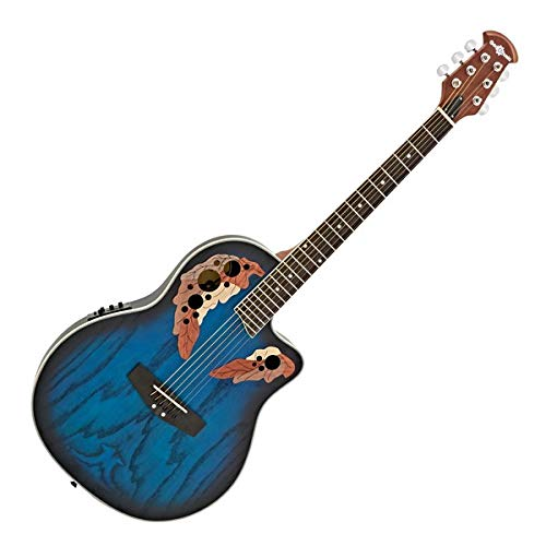 Deluxe Roundback Electro Acoustic Guitar by Gear4music, Blue Burst