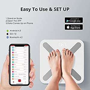 Sinocare Body Fat Scale,Digital Bathroom Weight Scale,Smart Scale for Body Weight,Body Composition Scale with Smartphone App Sync Use for Recording Body Weight,Fat,Water,BMI,BMR Etc,396 Lb/180Kg Max