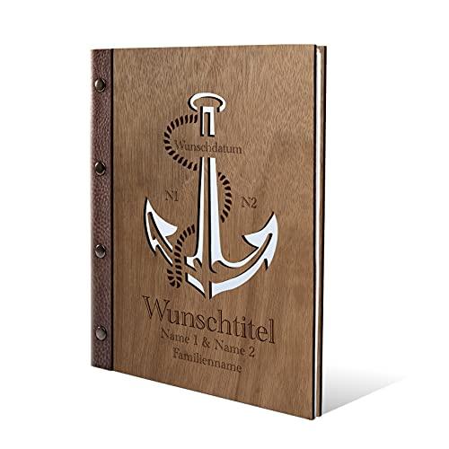 Stammbuch Okoume Holz Gravur individuell Holzcover mit Echtleder Rücken und Extras Stammbuchformat hoch 175 x 220 mm - Anker