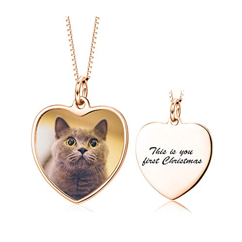 Full Color Photo Picture Personalized 925 Sterling Silver Necklace Custom Etched Pet Cat Dog Family Mother Baby Image Heart Round Square Shape Pendant Tag (heart-shaped-rose-gold-plated-silver)
