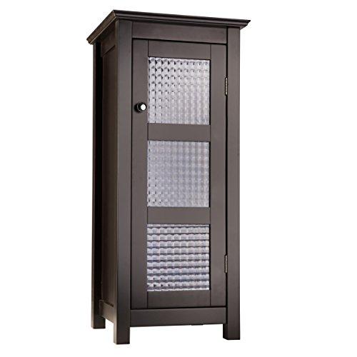 Elegant Home Fashions Chesterfield Freestanding Floor Cabinet Bathroom Kitchen Living Room Storage with 1 Glass Door 1 Adjustable Inner Shelf, Espresso, One Size (Kitchen)
