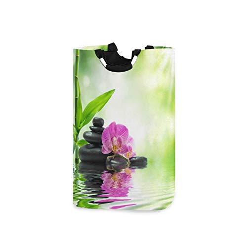 QMIN Wäschekorb Japanische Zen Orchidee Bambus faltbar Wäschekorb große Aufbewahrungstasche mit Griff faltbar hoch Organizer für Kleidung