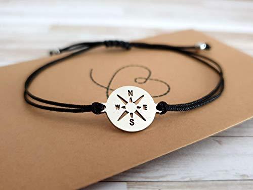Armband Kompass Edelstahl in Geschenkverpackung, zartes minimalistisches Armband, größenverstellbar schwarz silber