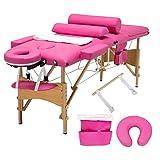 Uenjoy Massageliege Mobile Massagebett Tragbare Massagetisch 3 Zone Höhenverstellbare Massagebank mit KostenlosenTragetasche für SPA, Tattoo, Therapie Bett,Rosa