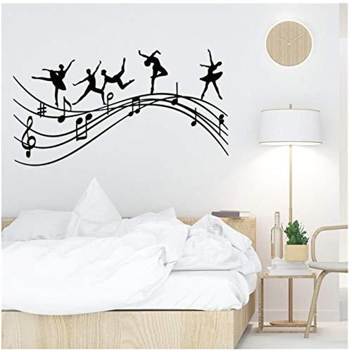 Ballett Wandtattoo Studio Tänzer Musik Noten Springen Melodie Ballerina Vinyl Glas Aufkleber Tanzraum Innendekoration 57x104cm