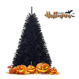 happygrill 6ft artificial christmas tree with sturdy metal stand, unlit halloween tree with 1036 branch tips pvc needles, black silk flower arrangements