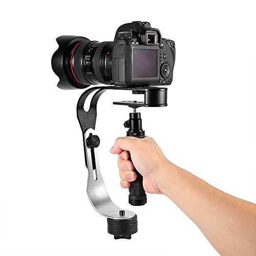 Yosoo Stabilisator Notebook Ständer, Aluminium tragbar mini Handheld Video Stabilisator, Hundeanhänger und neu Gimbal A Kabel für iPhone Samsung Canon Nikon Sony Kamera Camcorder DSLR SLR DV