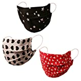 Touchstone Fashion Print Filter Pocket Pocket Nose Bridge doppellagige Gesichtsmaske aus Baumwolle, wiederverwendbar und maschinenwaschbar für Männer und Frauen (3er-Pack). Weiß Rot Schwarz