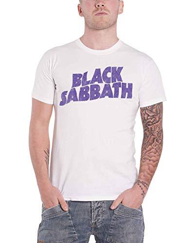 Black Sabbath T Shirt Wavy Band Logo Vintage Distressed Nue offiziell Herren