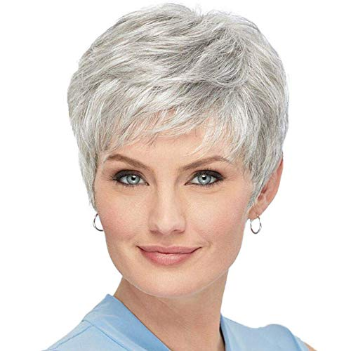 BLONDE UNICORN Silver Grey Hair Wig Natural Short Wigs for Women with Bangs…