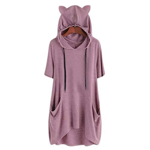 Zottom Frauen Plus Größen-Ohr-Katzen-festes Hoodie-Kurzschluss-Hülsen-Taschen-Spitzen-Blusen-Hemd