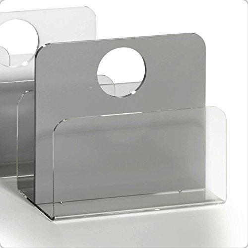 HOWE-Deko Hochwertiger Acryl-Glas Zeitungsständer, Zeitschriftenständer, klar/hellgrau, 33 x 16 cm, H 43 cm, Acryl-Glas-Stärke 5/8 mm