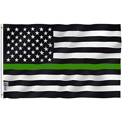 Anley Fly Breeze 3x5 Foot Thin Green Line USA Flag - Vivid Color and Fade Proof - Canvas Header and Double Stitched - Support for Border Patrol Agents Flag with Brass Grommets 3 X 5 Ft