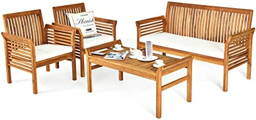 Best Tangkula 4 Piece Outdoor Acacia Wood Sofa Set w/Water Resistant Cushions, Padded Patio Conversation