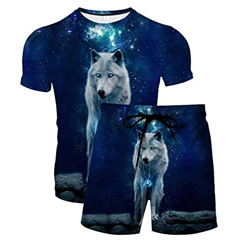 Pantalones Cortos de Playa para Hombre Tronco de Baño con Estampado 3D de Secado Rápido con Cordón y Camisetas Casuales de Verano Novedad de Manga Corta(Azul,6XL)