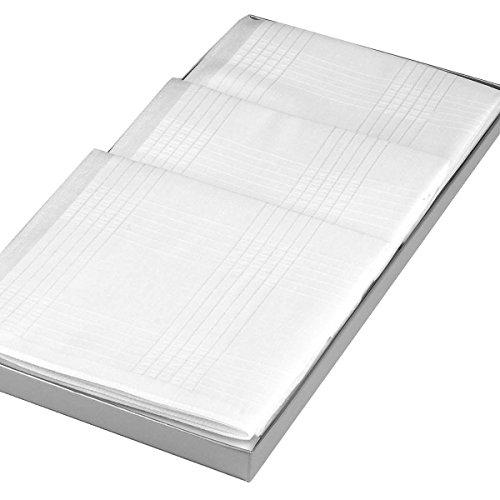 Merrysquare - Mouchoirs Blancs de Luxe - Modèle Hector - Grande Taille 43cm x 43cm - Coffret de 3 pièces - 100% Coton