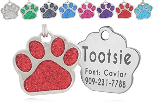 io tags Pet ID Tags Personalized Dog Tags and Cat Tags Custom Engraved Easy to Read Cute Glitter product image