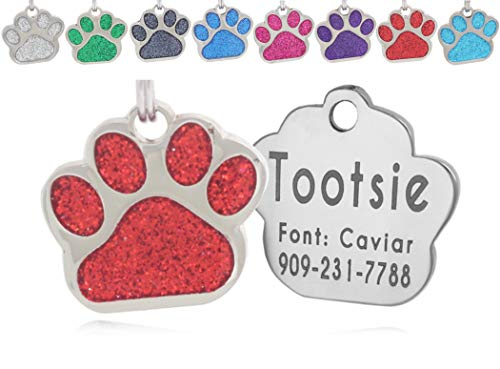 io tags Pet ID Tags, Personalized Dog Tags and Cat Tags, Custom Engraved, Easy to Read, Cute Glitter Paw Pet Tag (Red)